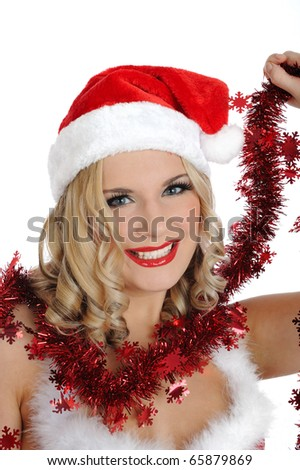 Beautiful sexy santa clause woman in party red christmas clothes smiling . isolated on white background - stock photo