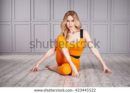 Beautiful sexy woman casual comfort clothes for gym exercise fitness gymnastic dance ballet perfect body shape athletic catalog collection clothes for profession sport healthy life style relax harmony - stock photo