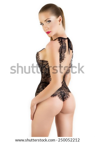 Beautiful sexy woman in black lingerie - stock photo
