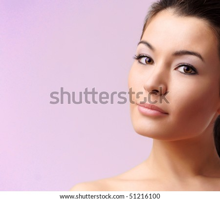beautiful sexy woman with brown eyes - stock photo