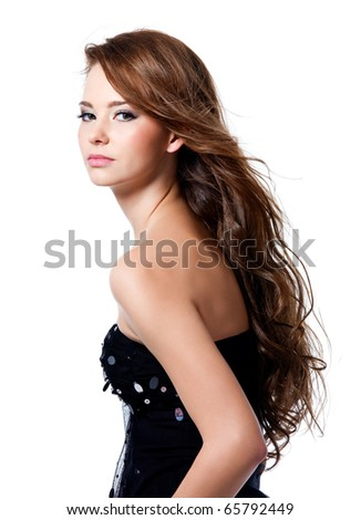 Beautiful sexy woman with brown long hairs - Isolated on white - stock photo