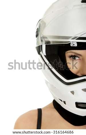 Beautiful sexy woman with motorcycle helmet.