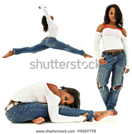 Beautiful Sexy Young Black Woman Dancing, Stretching, Walking over White Background - stock photo
