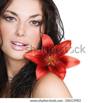 Beautiful Sexy Young Woman with flower - stock photo