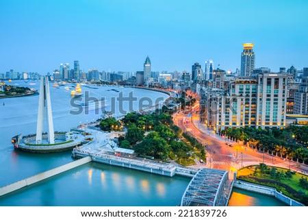 beautiful shanghai bund and huangpu river in nightfall , China  - stock photo