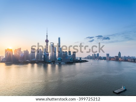 beautiful shanghai in sunrise, pudong skyline and huangpu river, China.