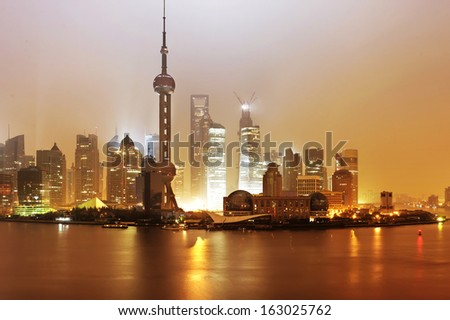 Beautiful Shanghai Pudong skyline - stock photo