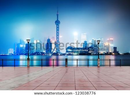 beautiful shanghai skyline at night,China - stock photo