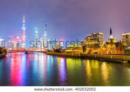 beautiful shanghai with suzhou river at night - stock photo