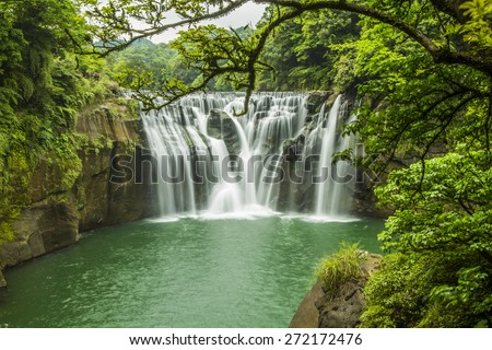 Beautiful Shifen waterfall, Pingxi,Taipei, Taiwan - stock photo