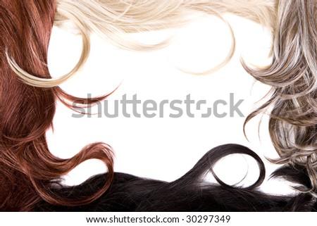 beautiful shiny healthy hair frame - stock photo