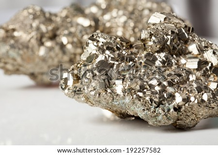 Beautiful shiny silver and golden pyrite close-up - stock photo