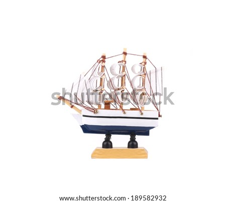 Beautiful ship model. Isolated on a white background. - stock photo