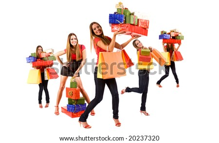 Beautiful shopping girl multiply with colorful bags and gift boxes.