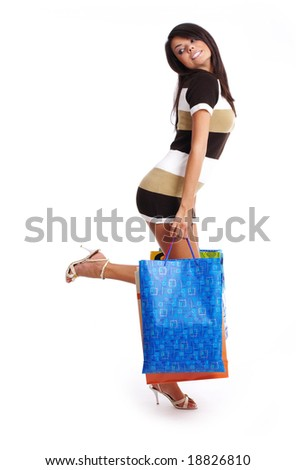 Beautiful shopping girl with  bag. isolated on white background - stock photo