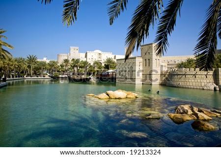 Beautiful shopping mall Souk Madinat Jumeirah in Dubai, UAE - stock photo