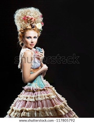 Beautiful showgirl with floral perfume