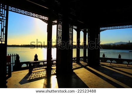 beautiful silhouette of an ancient building in Summer Palace,Beijing,China - stock photo
