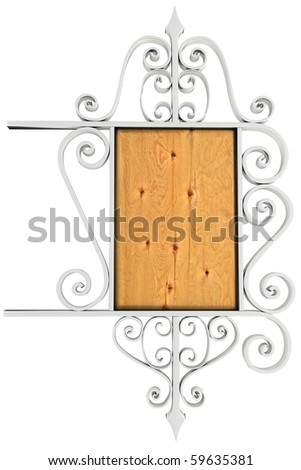 Beautiful silver and wooden signboard. Isolated on white - stock photo