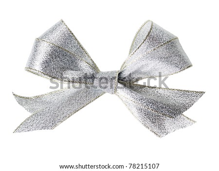 Beautiful silver bow on white background - stock photo