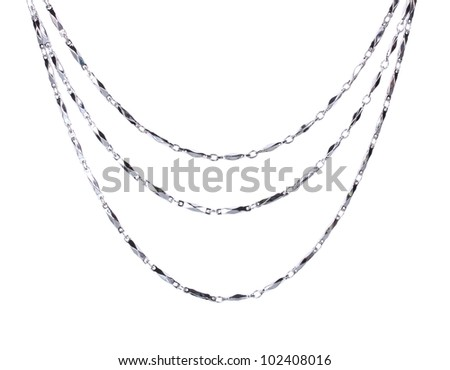 beautiful silver chain isolated on white - stock photo