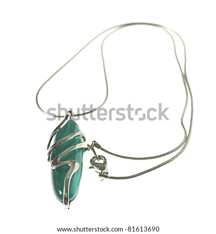 beautiful silver necklace isolated on a white background - stock photo