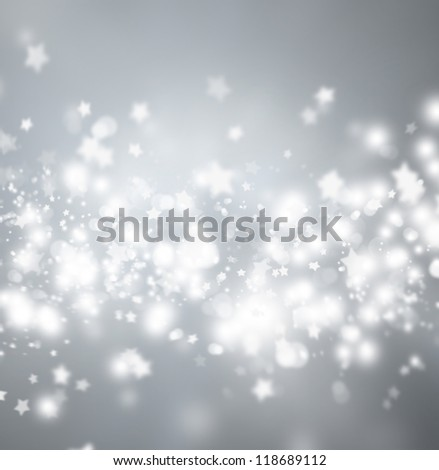 Beautiful silver snowflake Christmas background with copyspace - stock photo