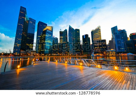Beautiful Singapore skyline - stock photo