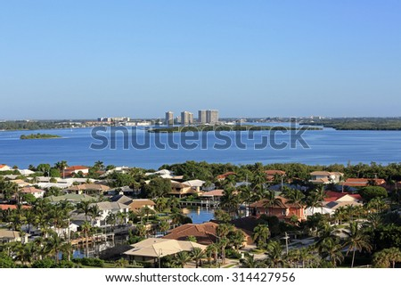 Beautiful Singer Island, Florida and the Munyon Islands in Lake Worth - stock photo