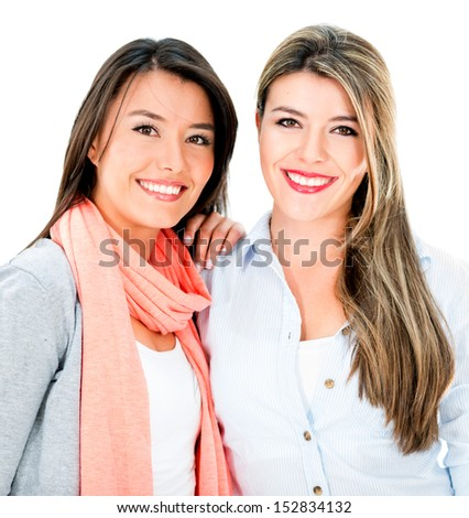 Beautiful sisters smiling - isolated over a white background  - stock photo
