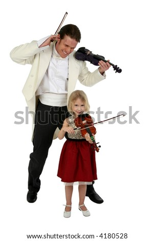Beautiful six year old girl plays violin and frustrates man in tuxedo - stock photo