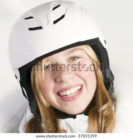 Beautiful skier portrait - stock photo