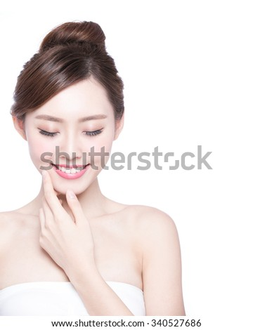 Beautiful Skin care woman relax and touch her skin face isolated on white background. asian Beauty - stock photo