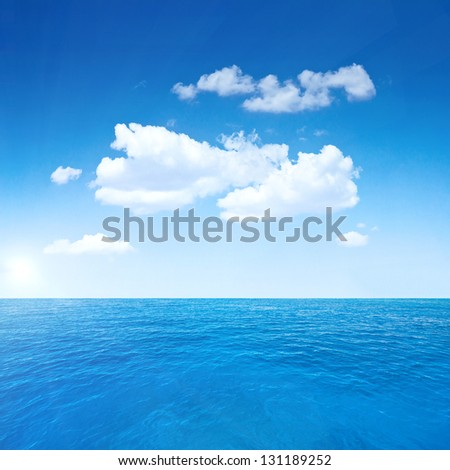 Beautiful sky and ocean. Sea summer shot - stock photo
