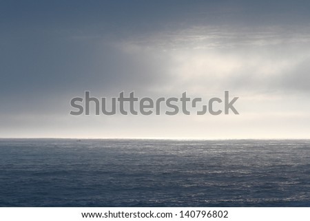 Beautiful sky and water of Atlantic ocean in the Portuguese north coast - stock photo
