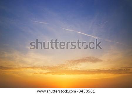 Beautiful sky at sunset time - stock photo