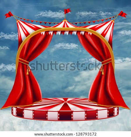 Beautiful sky behind the red curtain - stock photo