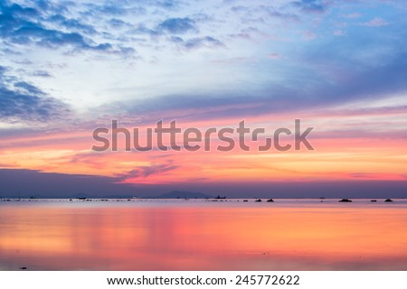 beautiful sky colorful sunset on the sea