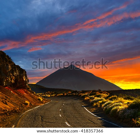 Beautiful sky over  the Volcano El Teide in Tenerife, Canary Islands, Spain  - stock photo