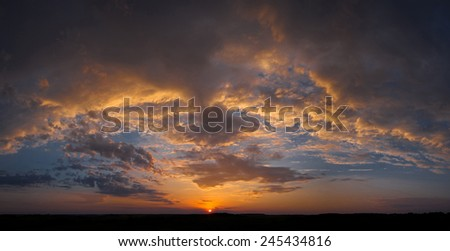 beautiful sky sunset clouds panorama - stock photo