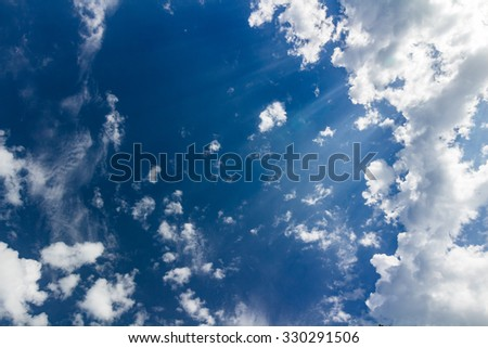 Beautiful sky with clouds and sun rays - stock photo
