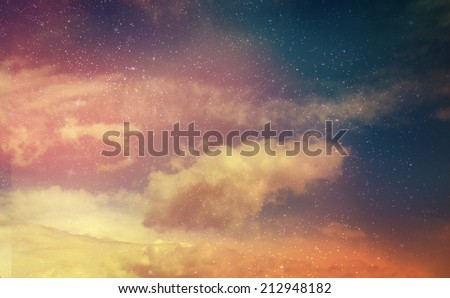 Beautiful sky with stars background - stock photo