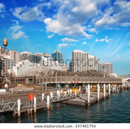 Beautiful skyline of Sydney with city skyscrapers. - stock photo