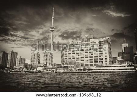 Beautiful skyline of Toronto from Lake Ontario - Canada. - stock photo