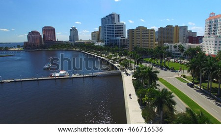 Beautiful skyline of West Palm Beach from helicopter, Florida.