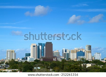Beautiful skyline view of downtown Fort Lauderdale, Florida, USA - stock photo