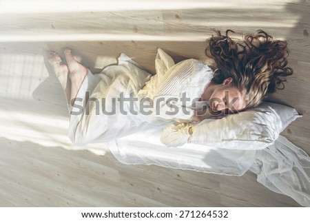 Beautiful sleeping woman - stock photo
