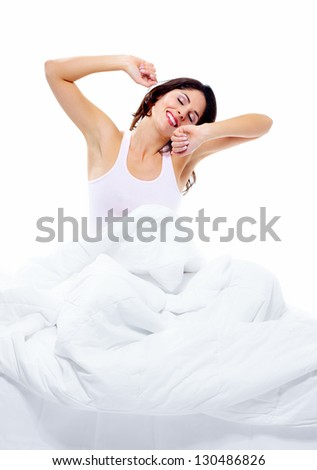 Beautiful sleeping woman in the bedroom. Relax. - stock photo