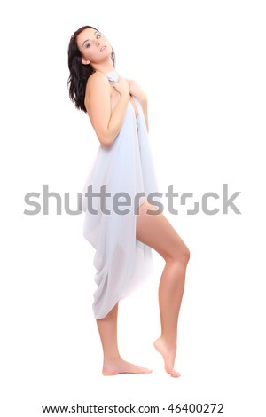 Beautiful slenderness young woman in blue veil on white background. High key studio shot.