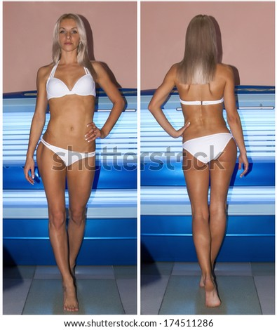 Beautiful slim blonde girl tans in the solarium. Before and after sunburn. - stock photo